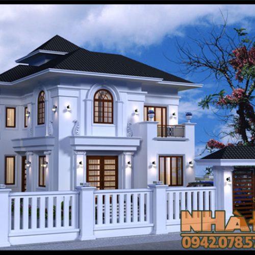 Mẫu biệt thự tân cổ điển 2 tầng 11×12.5m kiến trúc Pháp tuyệt đẹp trong màu trắng tinh khôi tại Hưng Yên-VNB210417
