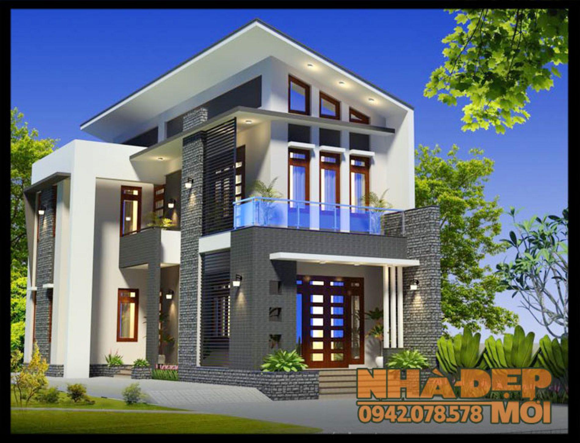 Mẫu nhà 2 tầng mái lệch 8x20m tuyệt đẹp qua mỹ thuật không gian cuốn hút-VNP180417