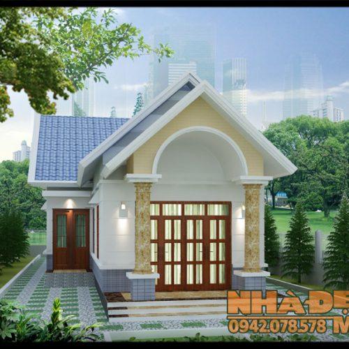 Mẫu nhà cấp 4 mái thái đẹp 7x23m chữ L kiến trúc truyền thống tại Củ Chi-TP.HCM-VNC200417