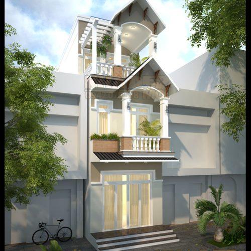 Mẫu nhà phố đẹp 3 tầng mặt tiền 4m kiểu tân cổ điển tại Q8-TP.HCM-VNP250417