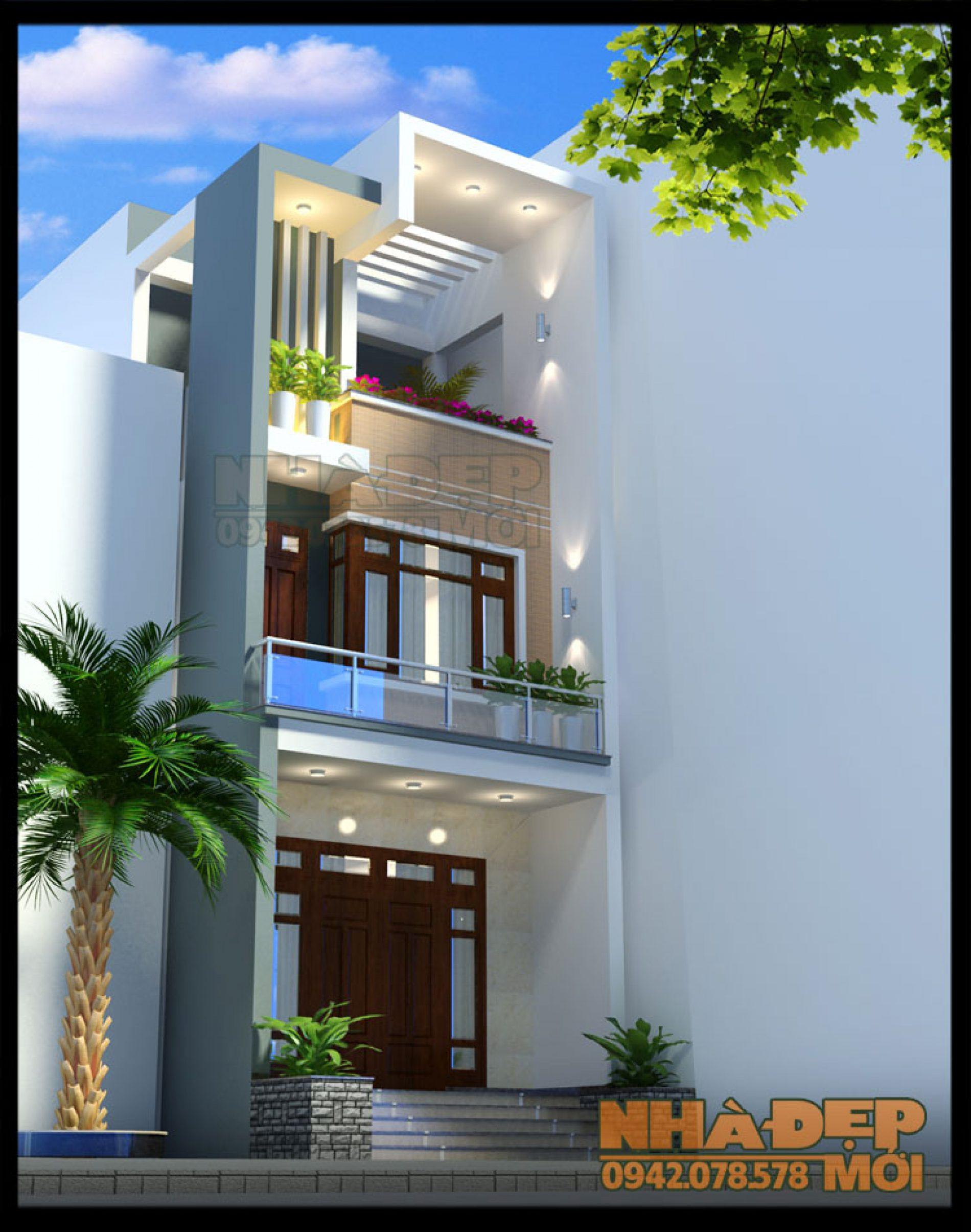 Mẫu thiết kế mặt tiền nhà phố 5m 3 tầng có giếng trời đơn giản mà đẹp tại Khoái Châu-Hưng Yên-VNP240417