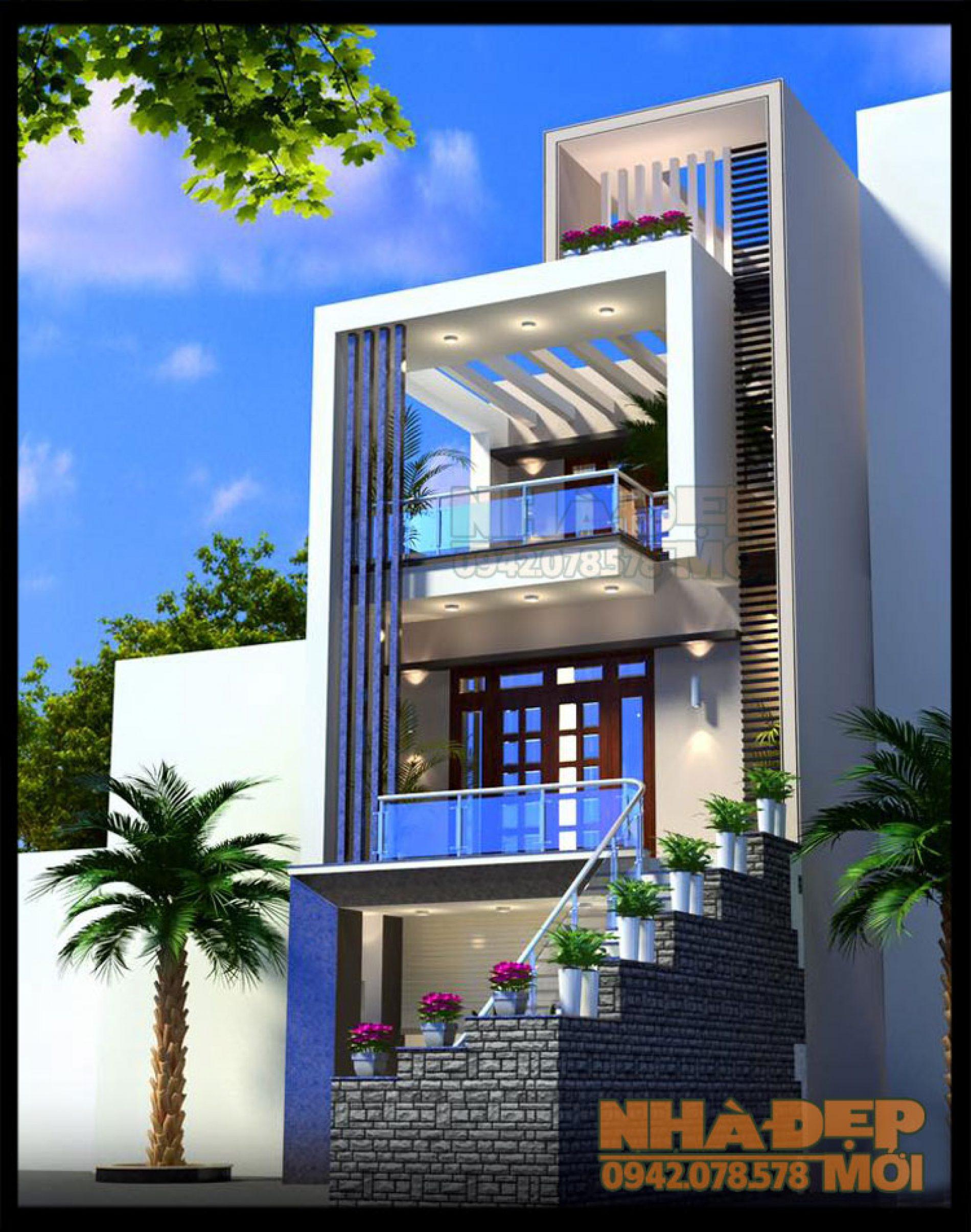 Mẫu nhà đẹp 3 tầng mặt tiền 6.5m có gara kiến trúc hiện đại trên lô đất xéo tại TP. Hải Phòng-VNP190417