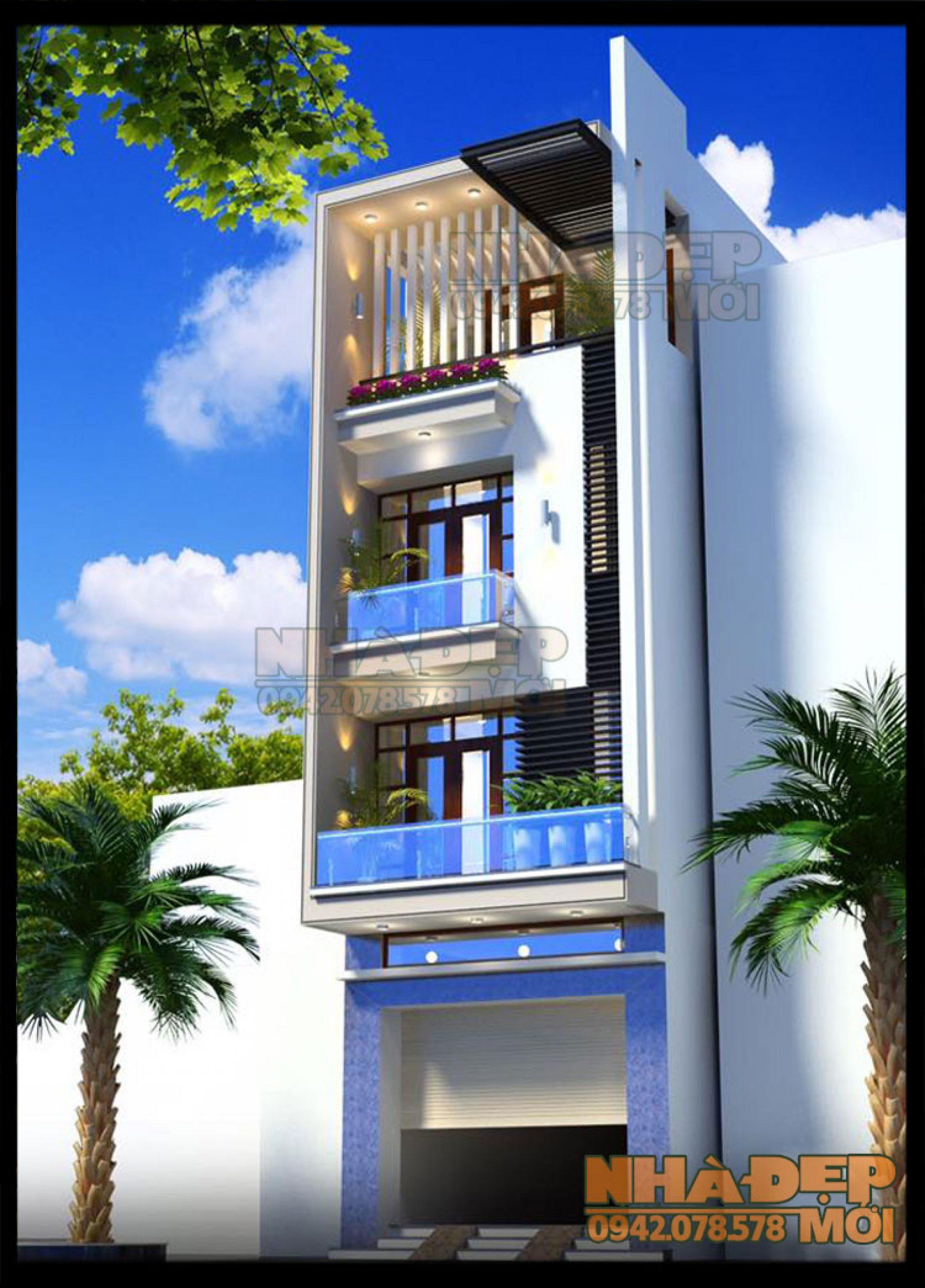 Mẫu thiết kế nhà phố 5x20m có mặt tiền đẹp tại TT. Long Thành-Đồng Nai-VNP270417