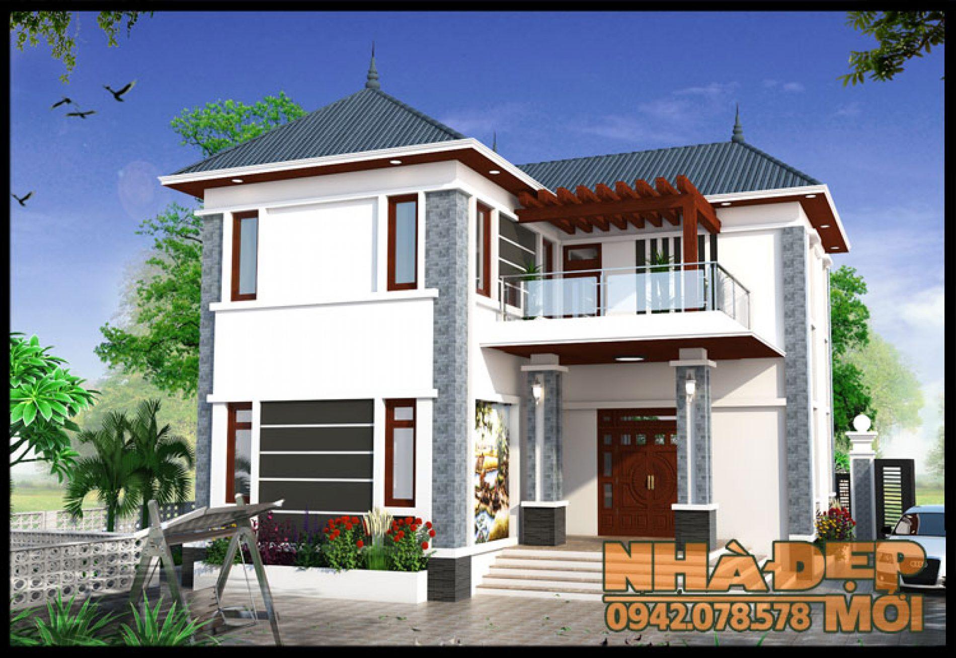 Biệt thự mini đẹp 2 tầng 11x11m chữ L tại Kim Sơn-Ninh Bình-VNB060517