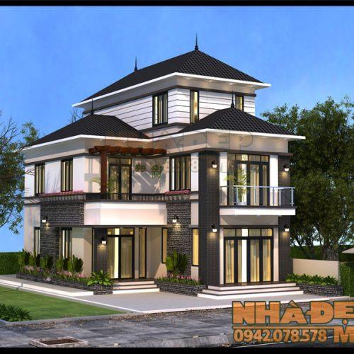 Mẫu thiết kế biệt thự mini 9x15m 2 tầng 1 tum kiến trúc hiện đại tại TT. Phú Mỹ-Bà Rịa Vũng Tàu