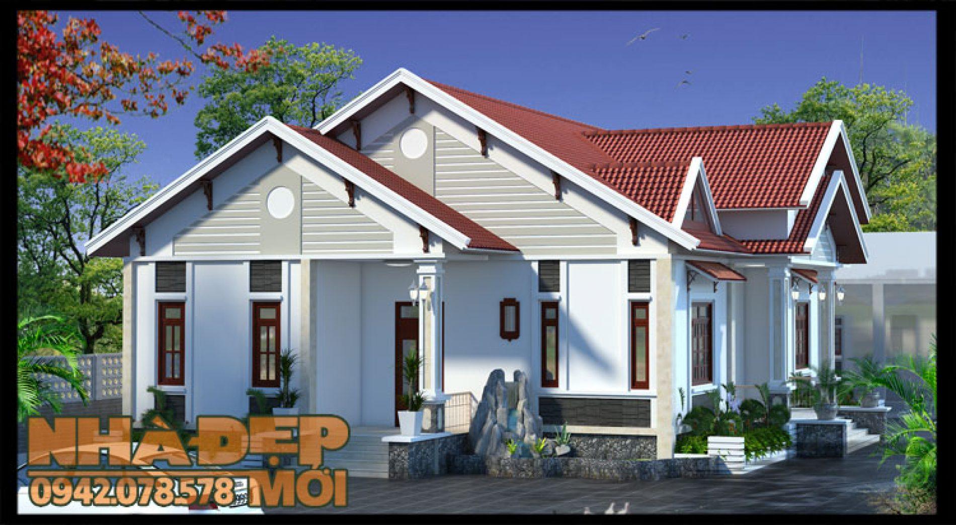 Bản vẽ chi tiết nhà cấp 4 nông thôn 4 phòng ngủ tại Vĩnh Phúc-VNC250517