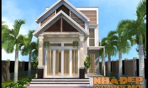 Thiết kế nhà 1 tầng gác lửng 6x14m có 3 phòng ngủ tại TP. Thủ Dầu Một-Bình Dương-VNP120517