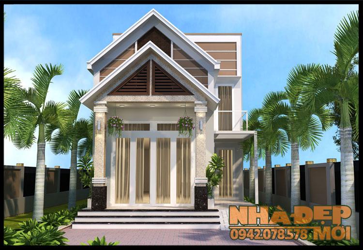 thiết kế nhà 1 tầng gác lửng 6x14m